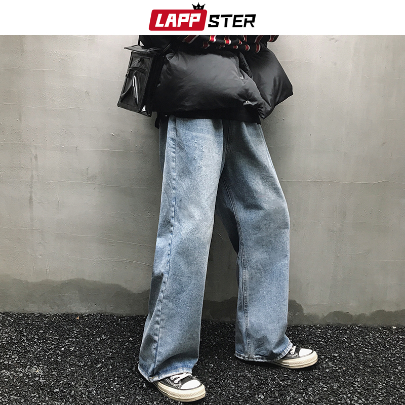 LAPPSTER Men Korean Fashions High Wasit Jeans 2020 Hip Hop Vintage Straight Harajuku Harem Pants Blue Streetwear Denim Clothing
