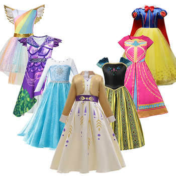 Girls Snow White Elza Ana Dress For Halloween Party Belle Cosplay Princess Costume Kids Moana Unicorn Clothing Fancy Vestido