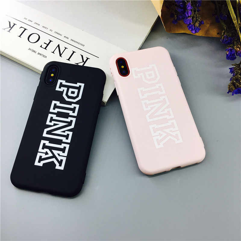Hot fashion ROZE Victoria Merk Case voor iPhone 6 6S 7 8 XR X XS MAX plus Telefoon Case luxe witte Zachte Back Cover Secret Coque
