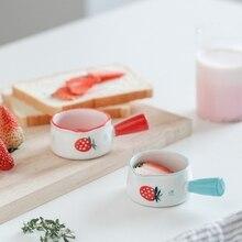 Milk-Jar Sugar-Bowls Ceramic Strawberry-Pattern Cute Cookware Coffee Kitchen Mini Saucepan