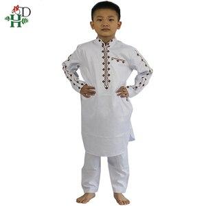 Image 2 - H & D Afrikaanse Kleding Voor Kinderen Jongens Borduren Dashiki Bazin Kind Overhemd Broek Pak Gewaden Ensemble Mode Kinderen Jalabiya z2804