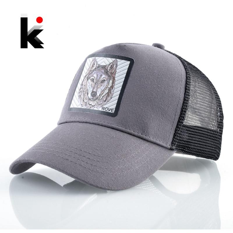 Fashion Baseball Cap With Wolf Patch Outdoor Breathable Mesh Visor Caps Men Snapback Hip Hop Baseball Hat For Women Visor Hats
