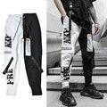 Прямая поставка, уличная одежда, Джоггеры для мужчин, новинка 2020, повседневные мужские брюки-султанки в стиле хип-хоп с лентами, облегающие м...