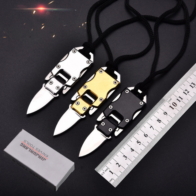 EDC Tactical Handle Knife Portable Pocket Fold Hunting Camping Knives Survival Defences Multi Tool Small Keychain Knife Black