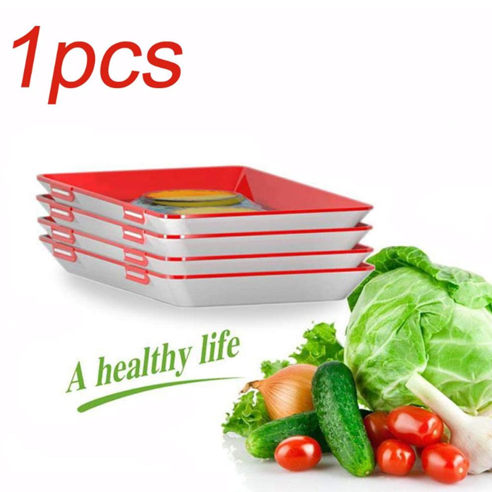 1pcs Innovative Buckle Design Food Preservation Tray Kitchen Tools Healthy Seal Storage Container Multiple Overlaying in Storage Trays from Home Garden