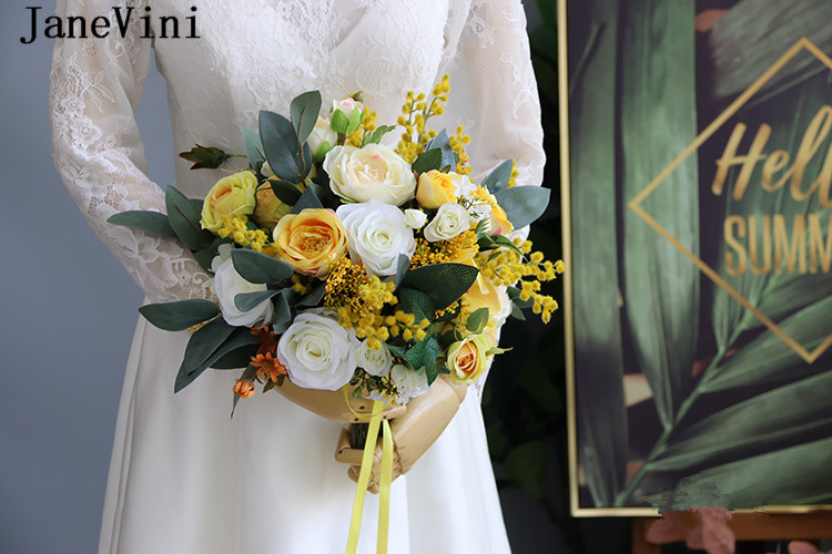 JaneVini Silk Flower Yellow Bouquet for Brides Artificial Outside Wedding Bunch of Flowers Bridal Bouquets Rose Leaf Flores Boda