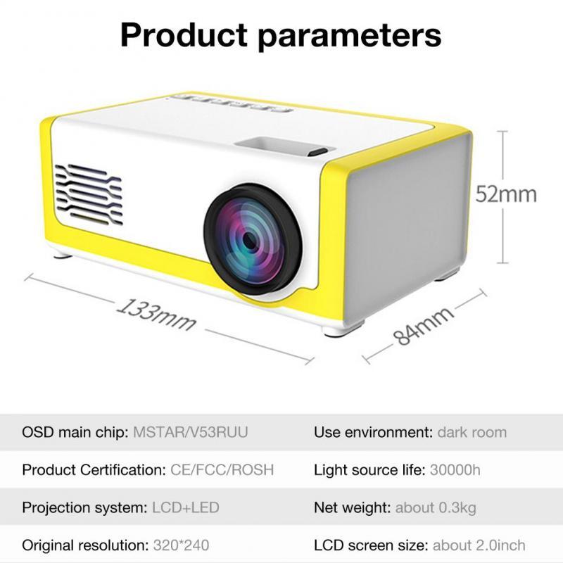 Dropship portátil mini projetor 1080p suporte 1080p mini projetor para casa av usb portátil bolso beamer projetor de cinema em casa-5