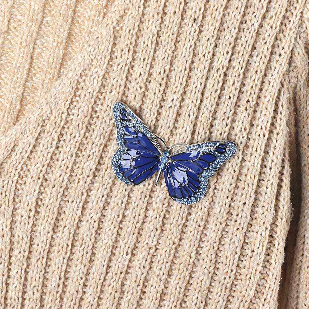 Indah Biru Kuning Kupu-kupu Bros Kerah Pin Alami Serangga Bentuk Rhinestone Bros untuk Wanita Kostum Syal Aksesoris