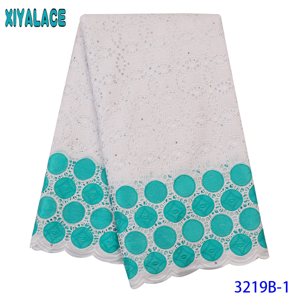 African Cotton Lace Fabric White Swiss Voile Cotton Lace Fabric Latest Dry Cotton Fabric Lace With Stones For Women KS3219B
