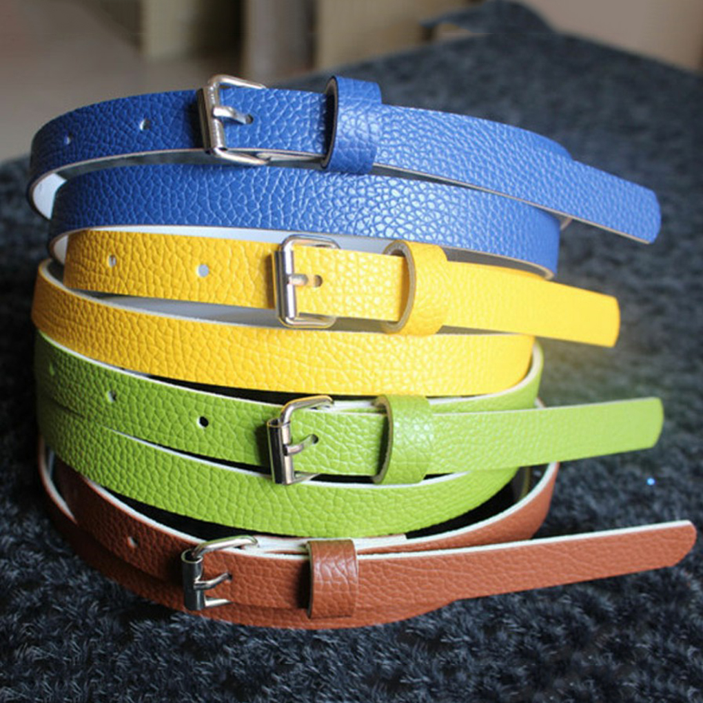 Girl Lady Belt Narrow Thin Leather Waistband Belt Women Accessories 10 Candy Colors Metal Buckle 1pcs