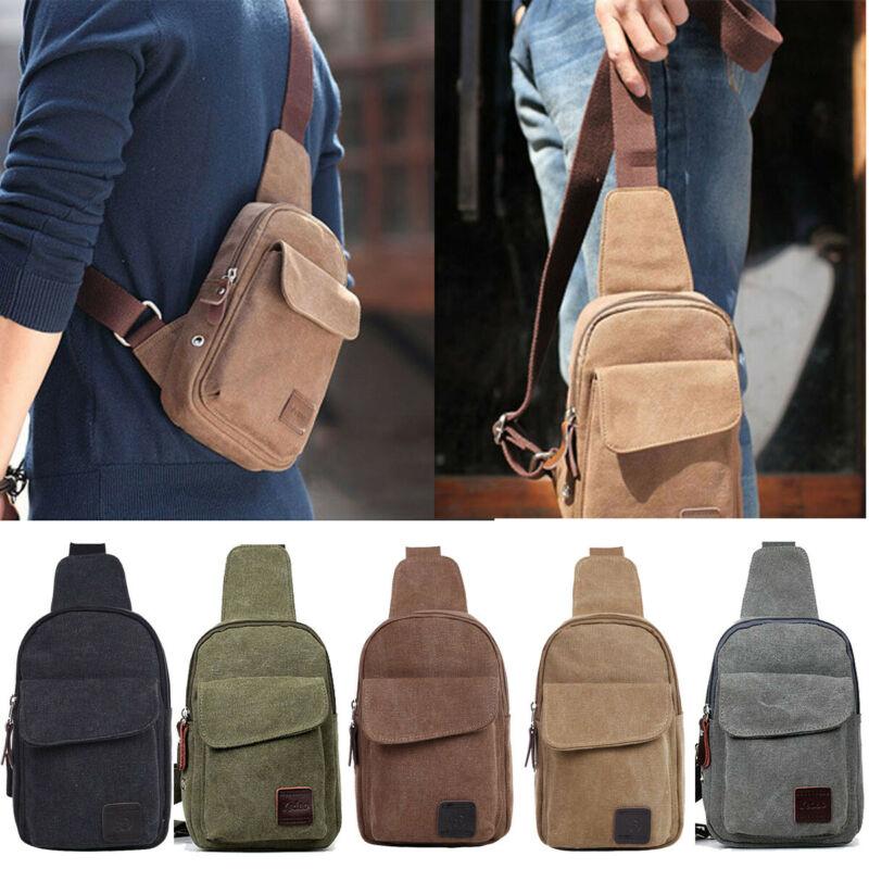 Fashion Men's Handbag Small Canvas Chest Sling Bag Travel Hiking Cross Body Messenger Shoulder Bag