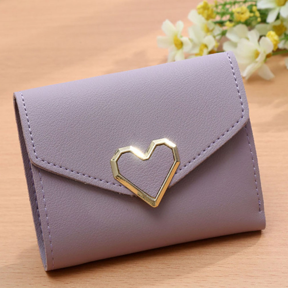 2019 New Fashion Simple Female Short Wallet Purse Card Holder Card Holder Carry Cute Love Pattern 3 Fold Wallet Short Wallet