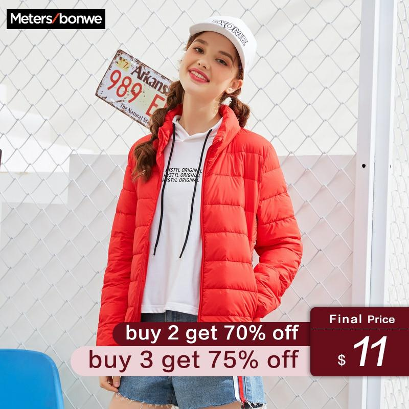Metersbonwe New Winter Women's Cotton Coat Padded Slim Female Sweet Outwear Warm Super Light Stand Collar Padded Clothing