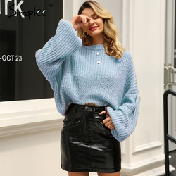 Simplee Winter lantern sleeve knitted sweater pullover Women loose round neck red sweater Female autumn casual sweater jumper 2