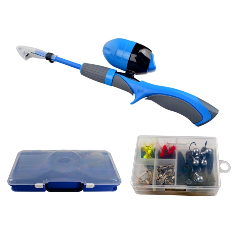 H053 Kids Fishing Po-le, Portable Telescopic Fishing Rod and Reel Combo Kit Spincast Fishing Reel Tackle Fishing Accessaries