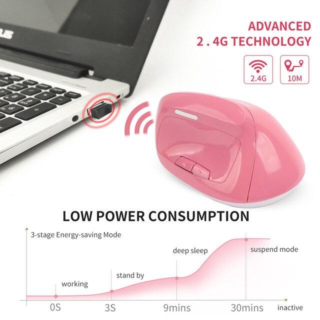 Фото мышь вертикальная аккумуляторная беспроводная 24 ггц 1600dpi цена