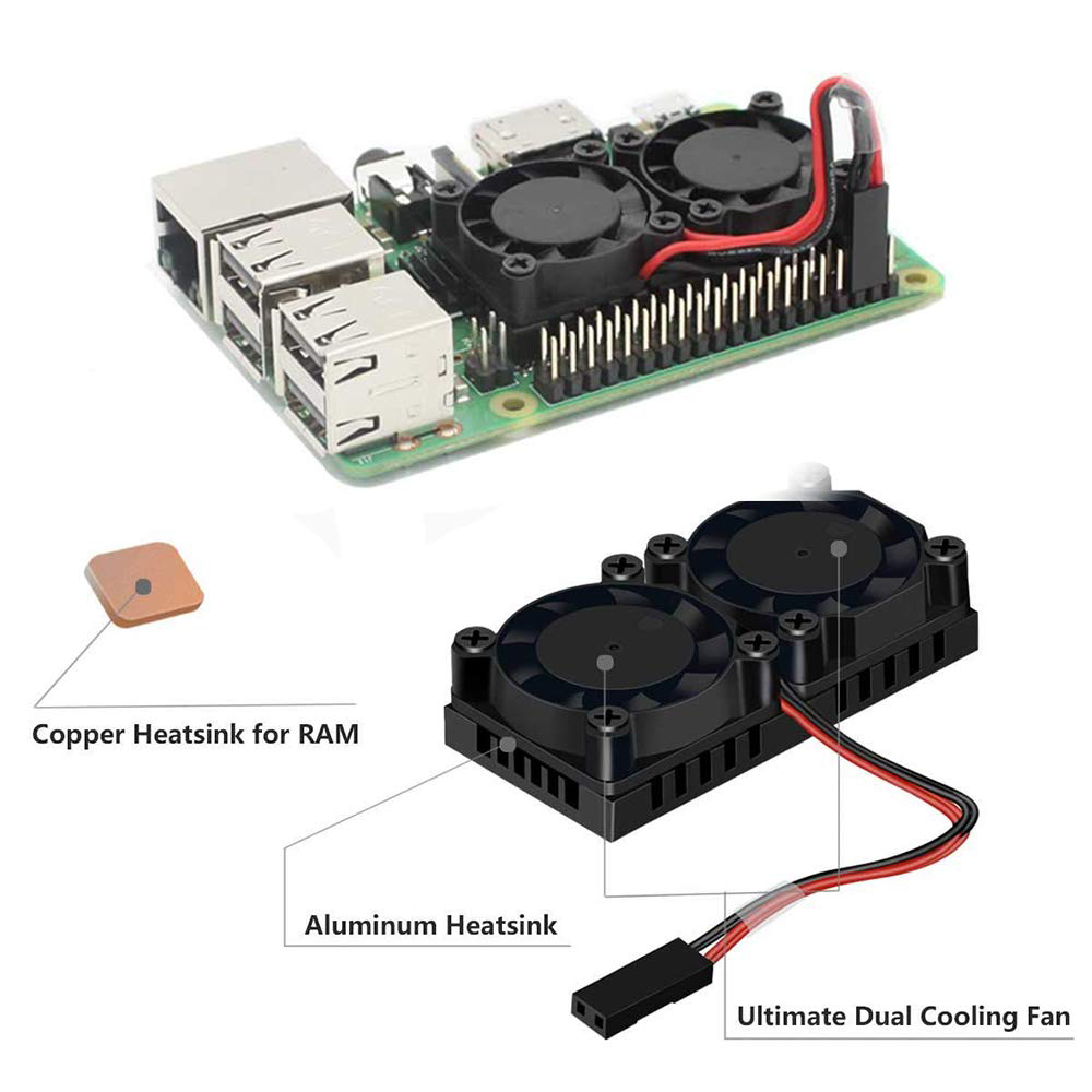 Dual Fan Optional Version Heatsink Cooler with Double Cooling Fans For Raspberry Pi 3 B Plus / 3 B