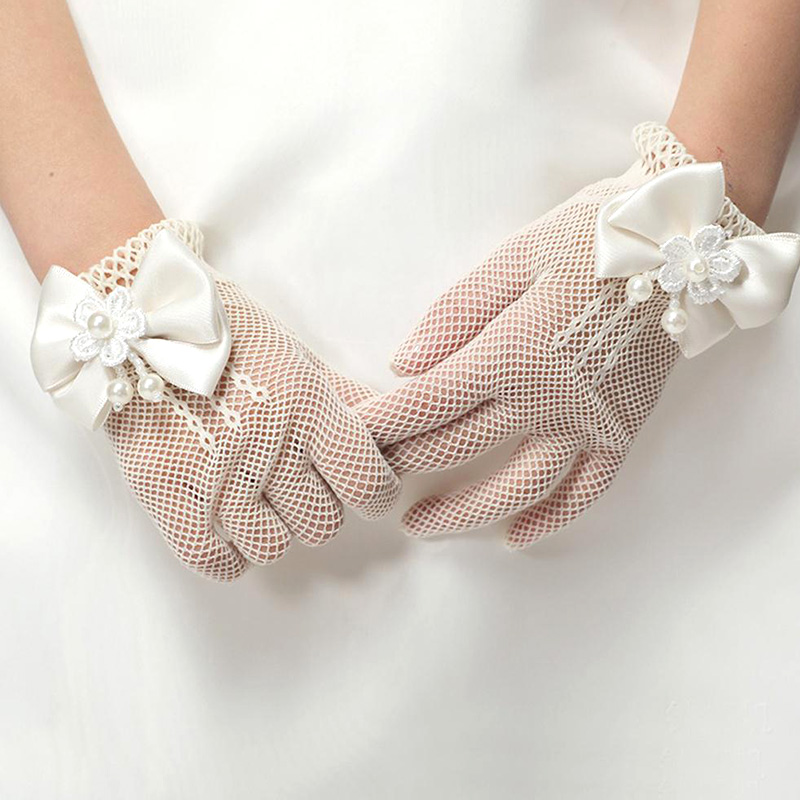 Lace Mesh Bow Pearl Gloves Smooth Comfortable Party Birthday Ceremony Coronation Princess Accessories Gift Mittens