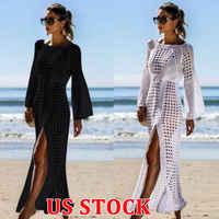 2020 летнее Сексуальное Женское Платье с О-образным вырезом и длинным свободным рукавом, черно-белое вязаное крючком бикини, длинное пляжное ...