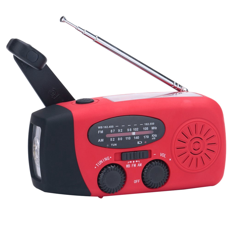 Emergency Solar Manual Crank Dynamo Noaa Wb Am Fm Radio Hurricane Camping Survival Kit with Led Flashlight 1000 Mah Power Bank in Chargers from Consumer Electronics