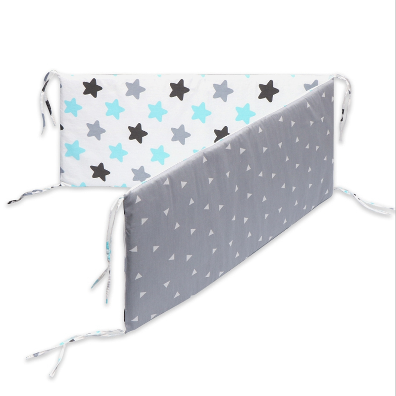 Cotton Breathable Crib Bumper Pad Washable Thick Baby Mattress Set Baby Boy Girl Protection Bumper Fence Baby Mattress Stars