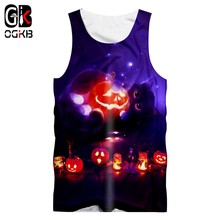 OGKB Men's New Creative Street Clothing 3D Printed Funny Pumpkin Cat Tank Top Halloween Big Size Man 6XL(China)