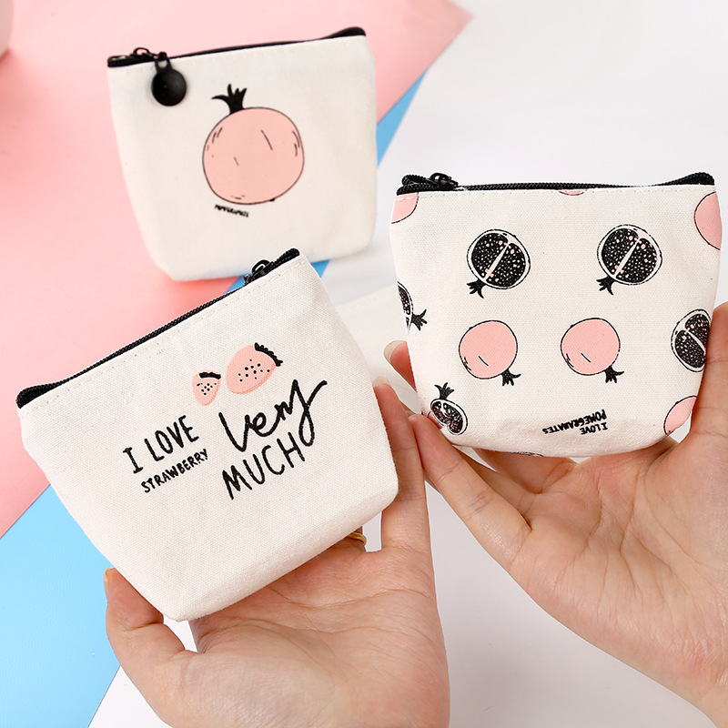 Creative Simple Sweet Words Canvas Coin Purse Color Cartoon Strawberry Pomegranate Pattern Large-Volume Wallet Key