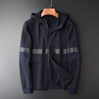 Mens Hoodies Autumn Fashoion New Jelly Printed Zipper Hooded Sweatshirt Men Hight Quality Slim Fit Simple Navy Men Hoodie