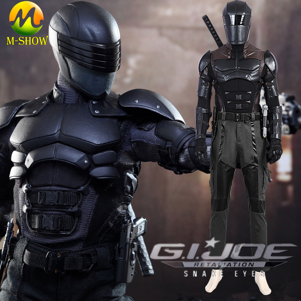 G I Joe Retaliation Cosplay Snake Eyes Cosplay Costume Halloween Outfit For Adult Men Armor Suit Custom Made