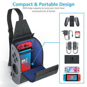 Image 2 - OIVO Storage Bag for Nintendo Switch Console Controller Waterproof Denim Backpack USB Charging Port Large Space Crossbody Bag