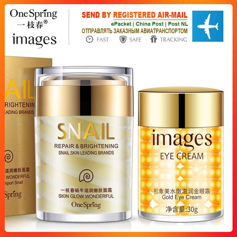 OneSping Snai yüz kremi + altın göz kremi göz torbaları kırışıklıklar aloe vera Anti-Aging kaldırma koyu halkalar tamir nemlendirici