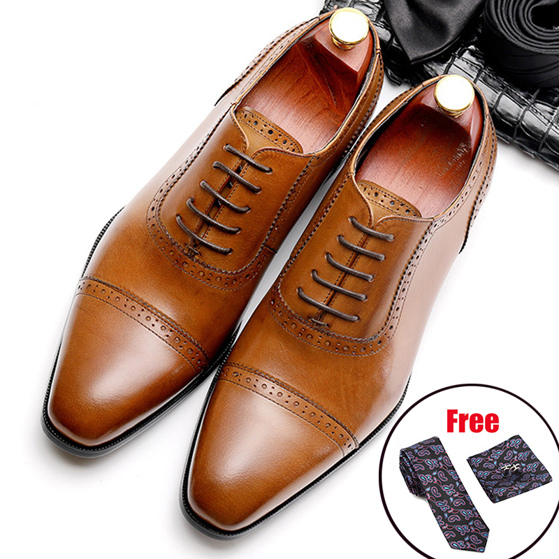 Phenkang Men Genuine Leather Shoes Man Business Dress Classic Style Coffee Black Lace Up Pointed Toe Shoes For Men Oxford Shoes
