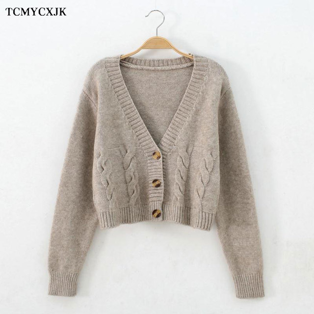 Short High Waist Slim Cable V-neck Sweater Women Spring And Autumn 2021 New Single-breasted Knitted Cardigan Twist Small Jackets 3