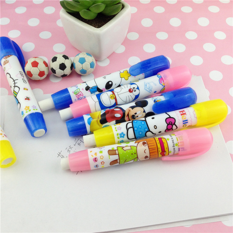 Clearance Retractable Press Pen Cute Student Eraser Cartoon Pattern Press Rubber Eraser New Creative School Learning Stationery