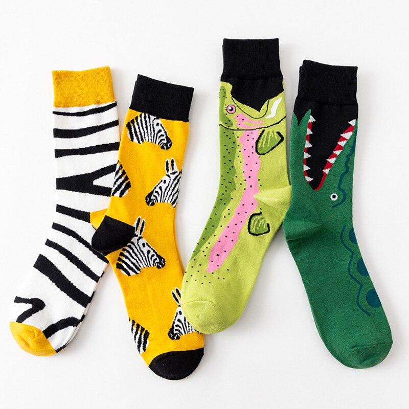 1 Pair Creative Autumn Winter Men Women Cotton Casual Socks Animals Zebra Stripe Shark Crocodile Socks Happy Funny Classic Socks