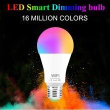 15w 220v wifi lâmpada inteligente pode ser escurecido multicolorido e27 b22 rgb wifi led trabalho mágico com alexa/google casa controle remoto por app