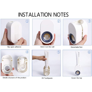 Image 5 - Household Toothpaste Automatic Dispenser Wall Mount Toothpaste Holder Automatic Squeezing Toothpaste Dispenser Health Safety
