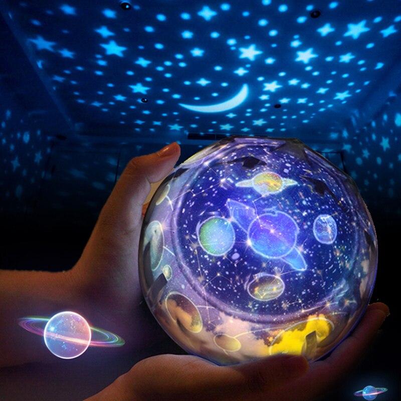 Projecteur ciel étoilé planète projecteur magique jouet terre univers lampe à LED coloré rotation clignotant étoile enfants bébé cadeau de noël