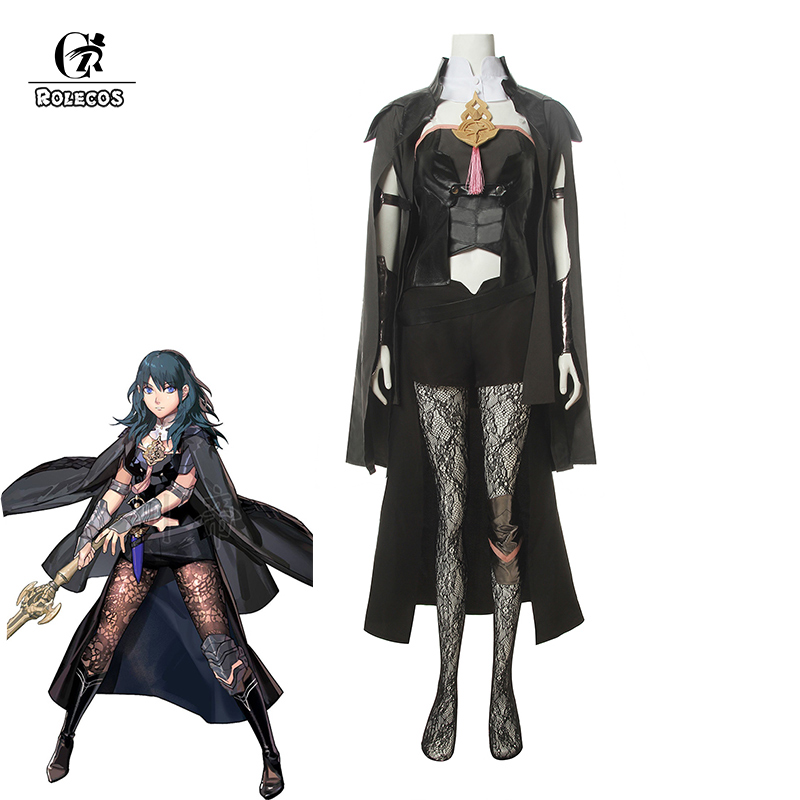 ROLECOS Game Fire Emblem Byleth Cosplay Costume Three Houses Byleth Cosplay Costume Women Sexy Dress Black Pants Cloak Outfit