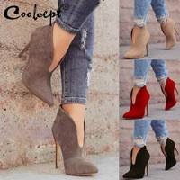 Coolcept 4 Color Women High Heel Boots European Style Sexy Ankle Boots Fashion Pointed Toe Spring Autumn Shoes Women Size 36 43