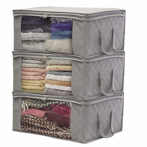 Large Capacity Clothes Storage For Home Bed Foldable Dustproof Zipper Transparent Patchwork Storage Bag Closet Organizer Boxes