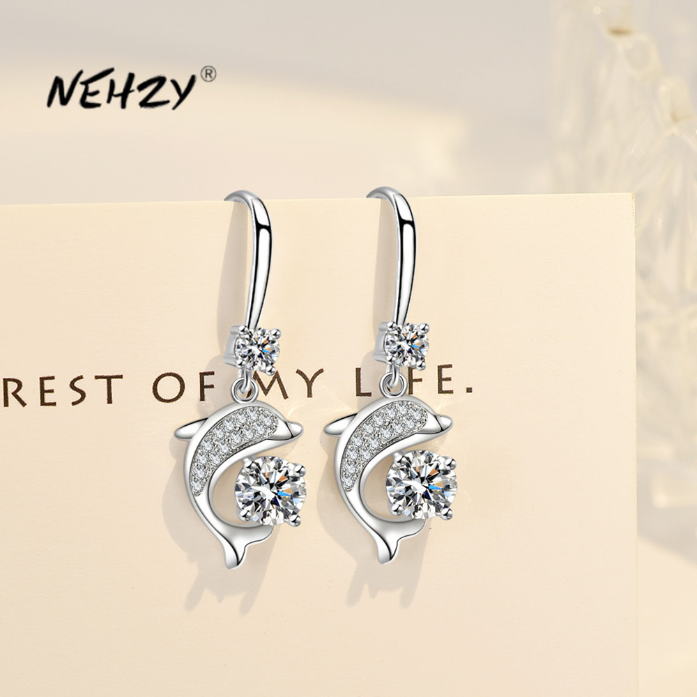 NEHZY 925 sterling silver new women's fashion jewelry high quality crystal zircon long tassel simple dolphin hook earrings