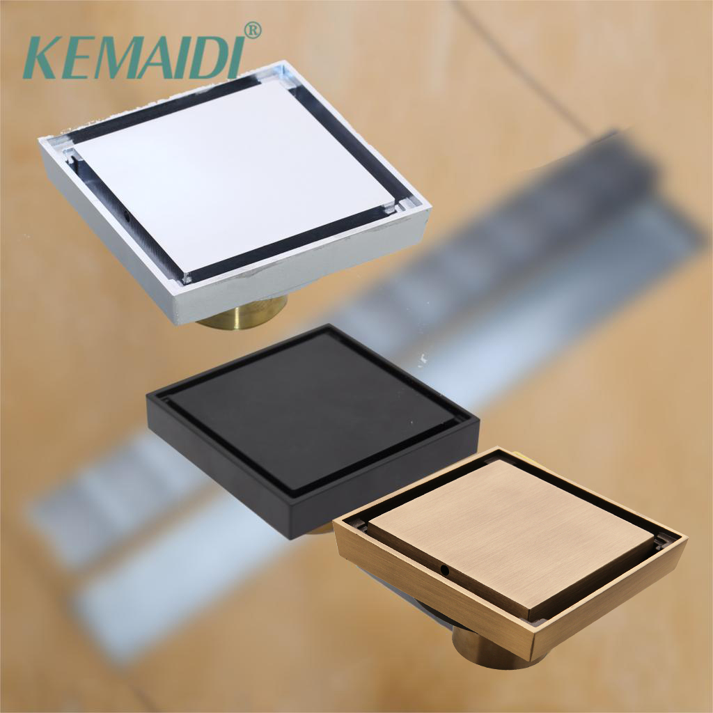 KEMAIDI 10*10cm Floor Drains Stainless Steel Square Shower Floor Drains Tile Insert Drain Channel Bathroom Kitchen Waste Grate
