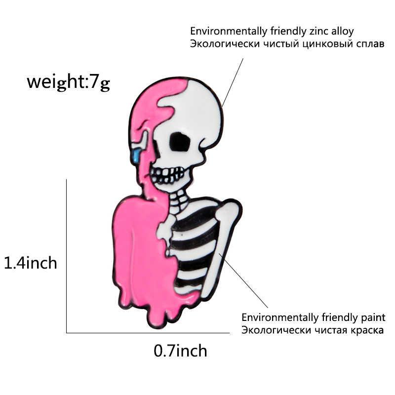 Розовый Скелет эмали штырь в стиле панк череп нагрудный знак брошь простой значки шпильки круглый значок из мультфильма «Город героев»; модные, ювелирное изделие, подарок