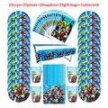 81 шт одноразовая посуда Мстители для детей, день рождения, вечеринка, бумажная тарелка + чашка + салфетка + конфеты, подарочные пакеты + скатер...