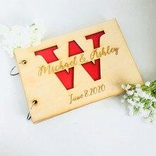 Свадебная Гостевая книга на заказ для невесты, жениха, уникальные вечерние фотоальбом из дерева в деревенском стиле, персонализированная книга для подписи, свадебный подарок