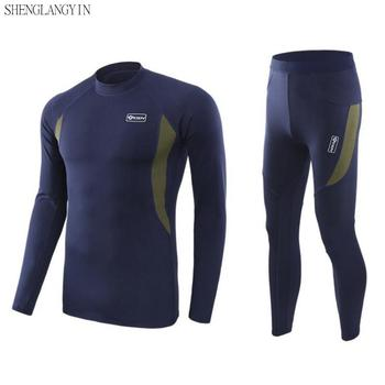 Top quality new thermal underwear men sets compression  fleece sweat quick drying thermo clothing S-3XL