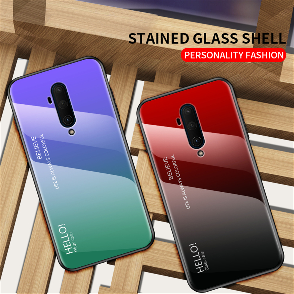 Aurora Gradient Phone <font><b>Case</b></font> for <font><b>OnePlus</b></font> 8 7 7T Pro <font><b>OnePlus</b></font> 5 5T 6 <font><b>6T</b></font> Tempered Glass <font><b>Case</b></font> Hard <font><b>Bumper</b></font> Shockproof Back Cover image