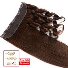 """80 г-120 г 1""""-22"""" натуральные человеческие волосы для наращивания на заколках, 1 шт./Вт, 5 клипов, Натуральные Прямые волосы remy"""