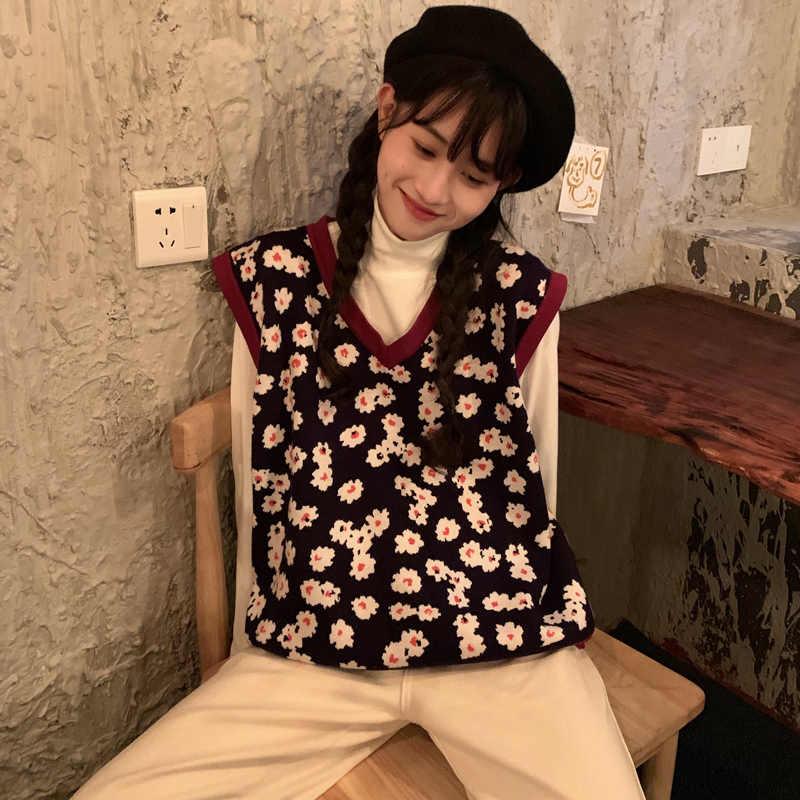 2019 秋と冬の韓国スタイル v ネックニット花ノースリーブベストセーターレディースプルオーバーレディース (C8574)